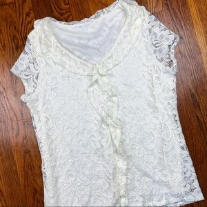 3 FOR $15! White Lace Ruffle Front Blouse